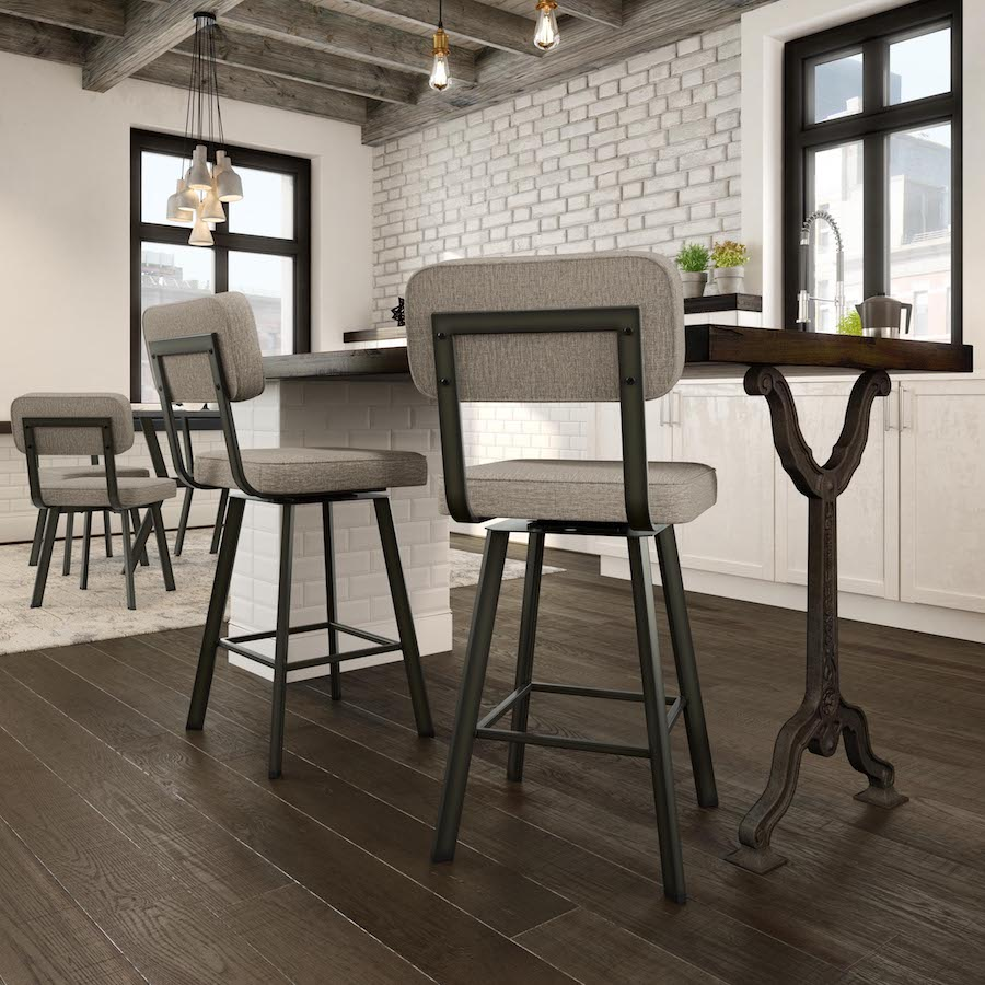 Brixton Upholstered Metal Swivel Stool - Lifestyle