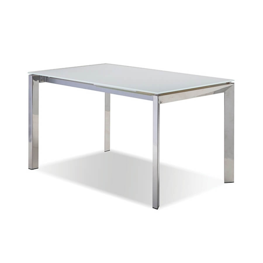 Ghost White Glass Extension Dining Table Vancouver